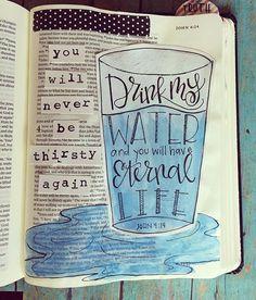 Bible Journaling by Cara Carroll @thefirstgradeparade   John 4:14
