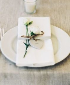wedding place setting clay heart
