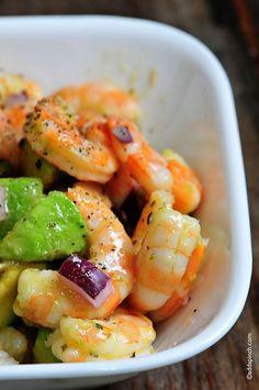 Shrimp Avocado Salad. Cooked shrimp, diced avocado, diced red onion, and a vinaigrette. D'oh! by myrl