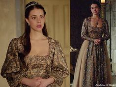 """In the episode 2x22 (""""Burn"""", pictured on the left) and 3x03 (""""Extreme Measures"""", right) Queen Mary wears this Reign Costumes custom embroidered gown with tulle panels. The bell sleeves were altered a little at her wrists in the later episode.The embroidered part of this breathtaking gown was made of the novelty metallic embroidered tulle fabric from B&J Fabrics."""