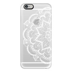 iPhone 6 Plus/6/5/5s/5c Case - White Feather Mandala on Clear ($40) ❤ liked on Polyvore featuring accessories, tech accessories, phones, phone cases, electronics, phone covers, iphone case, iphone cover case, apple iphone cases and white iphone case