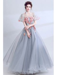 Grace love grey with pink floral long prom dress with short puffy sleeves Grad Dresses Short, Prom Dresses With Sleeves, Formal Dresses, Puffy Dresses, Long Dresses, Pageant Dresses, Quinceanera Dresses, Evening Dresses, Maxi Dresses