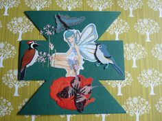 groene zandloperkaart met Engel en vogels