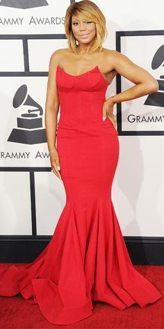 2014 Grammy Red Carpet Arrivals - Tamar Braxton from #InStyle.   Stunning dress! #bombassbob