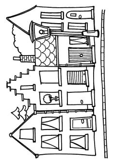 House to color printable House Colouring Pages, Coloring Book Pages, Coloring Sheets, Christmas Embroidery Patterns, Applique Patterns, House Quilts, Glitter Houses, House Drawing, Paper Houses