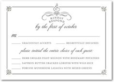 Keep track of your wedding guests' RSVPs and menu choices with stylish response cards. Custom choices (including color and text options) make this classic design easy to personalize.
