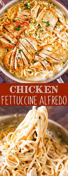 This Chicken Fettuccine Alfredo Recipe is packed with flavor and perfect for busy weeknights. Lighter than traditional alfredo recipes this chicken alfredo uses a combination of greek yogurt and heavy cream for a deliciously creamy pasta dinner. Pasta Recipes, Chicken Recipes, Dinner Recipes, Cooking Recipes, Noodle Recipes, Curry Recipes, Quick Recipes, Casserole Recipes, Dessert Recipes