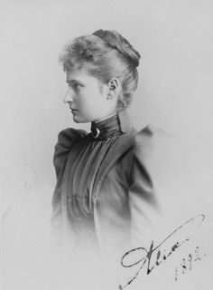 1892 Princess Alix, fourth daughter of the Grand Duke and Grand Duchess of Hesse by Carl Backofen (Royal Collection) From pinterest.com:karenfm:victorian-era: