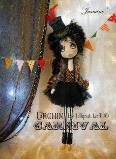 'Jasmine' - Urchin Art Doll (Carnival) by Vicki at Lilliput Loft