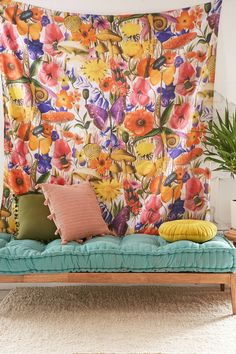 Slide View: 1: Trippy Floral Tapestry