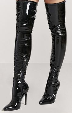 Black High Boots, Thigh High Boots Heels, High Leather Boots, Stiletto Boots, Heeled Boots, Sexy Boots, Cool Boots, Botas Sexy, Hot Heels