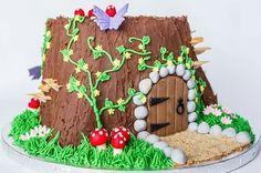 Garden Fairy Cake Tree Stumps New Ideas Fairy House Cake, Fairy Garden Cake, Garden Cakes, Fairy Cakes, Fairy Birthday Cake, Twin Birthday Cakes, Woodland Fairy Cake, Tree Stump Cake, Tree Stumps