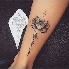 Gorgeous Lotus Flower Leg Tattoos