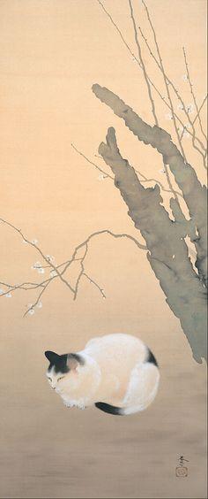 """Cat And Plum Blossom"" by Shunso Hishida, 1906"