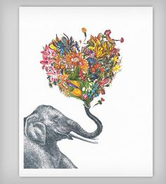 """The Happy Elephant Colorful Art Print   This """"Happy Elephant"""" art print features an elephant with a he...   Posters"""