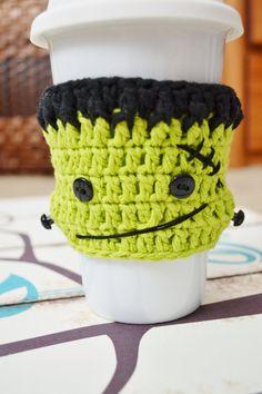 Frankenstein Crochet Coffee Sleeve by Bocozian on Etsy for Halloween!