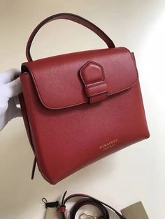 a0db9327567f Burberry Small Grainy Leather and House Check Tote Bag Red 2017 Burberry  Tote Bag