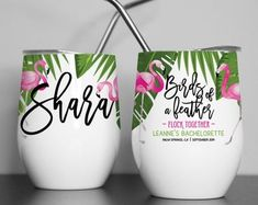Custom Tumblers and Clothing for Weddings and Birthdays by ResisDentzDesign Bachelorette Cups, Personalized Makeup Bags, Bridesmaid Bags, Ostrich Feathers, Custom Tumblers, Pink Flamingos, Bellisima, Embellishments, Pearls