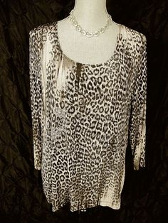 CHICOS TRAVELERS 3 Black Gray Animal Print Slinky Knit Top XL USA #Chicos #KnitTop #Casual#travelers#chicosforsale