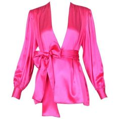 Preowned 1970's Yves Saint Laurent Ysl Hot Pink Silk Blouse W/matching... (€440) ❤ liked on Polyvore featuring tops, blouses, pink, shirts, hot pink blouse, silk blouse, sleeved shirt, pink silk blouse and sleeve blouse