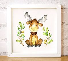 """Nursery wall art Moose on the Loose is one of the Forest Friends animal set, modern decor, add a name print, digital instant download A3, 16"""" x 16"""" 40 x 40cm large poster A3 size This cute watercolour image of a cute moose surrounded by Oak tree branches and acorns makes a lovely gift to welcome a new baby or as nursery wall art or as girl or boy bedroom art by Latchfarmstudios"""
