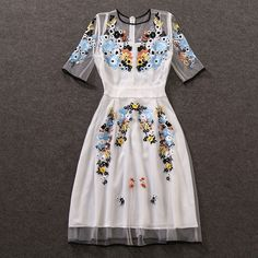 Find More Dresses Information about Frees Shipping 2016 Elegant White O Neck Half Sleeves Embroidery Women Dresses vestido de festa Brand Style Sheer Mesh Dresses ,High Quality dress code dresses,China dress long sleeve tunic dress Suppliers, Cheap dress up wedding dresses from Queen's Luck on Aliexpress.com
