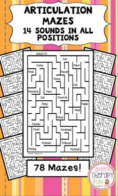 Your students will love Articulation Mazes! 2 mazes per sound per position Articulation Therapy, Articulation Activities, Speech Therapy Activities, Language Activities, Phonics, Learning Activities, Speech Language Therapy, Speech Language Pathology, Speech And Language