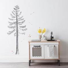 Baby room decoration: Fabric Wall Stickers: build a pine tree Wall Stickers, Wall Decals, Tree Decals, Linens And More, Moving House, Pine Tree, Tree Wall, Vinyl, Bedroom Wall