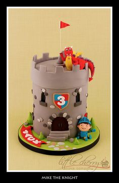 Mike the Knight, a Dragon, and an adorable castle cake