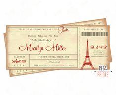 París boleto invitación - invitan a París de embarque - París cumpleaños…