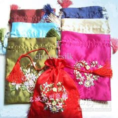 Pretty Hand Ribbon Embroidery Gift Tea Bags Favor Candy Drawstring Pouch Satin Packaging 19 X 15 Cm Mix Color Free From Chinesesilk, $82.73   Dhgate.Com