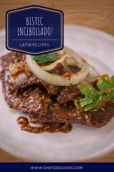 Bistec Encebollado -- Spanish Style Steak and Onions is a classic yet insanely delicious Latin Recipe. and for good reason! This is an amazing beef & steak recipe that's packed with flavor and seaso Beef Steak Recipes, Salisbury Steak Recipes, Mexican Dinner Recipes, Mexican Food Recipes, Bistec Encebollado Recipe, Steaks, Steak And Onions, Tapas, Pepper Steak