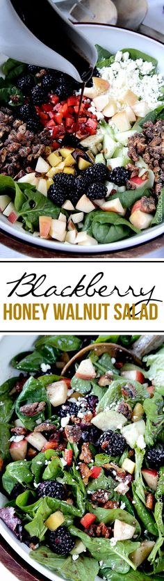 Perfect for Easter! Blackberry Honey Walnut Salad doused with the most delectable easy sweet, tangy Blackberry Balsamic Vinaigrette, spinkled with addicting honey roasted nuts and packed with a rainbow of harmonious sweet and tart blackberries, apples, and mangoes. #blackberrysalad #eastersalad #blackberryvinaigrette