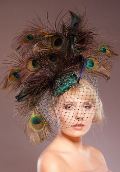 Vintage Inspired Peacock Cocktail Hat by HandmadeHatsbyElla, £129.00