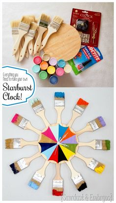 All the supplies you need to make your own paint-dipped paint brush starburst clock (or mirror!)