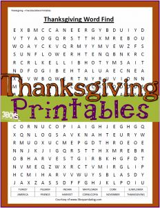 Thanksgiving Word Find Printable