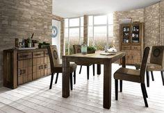 #Essgruppe 180x90 Cavalieri - Tisch & 4 #Stühle - Sheesham massiv - braun - mit Kupfer beschlagen - Shesham massiv mit Canvas bezogen und bedruckt
