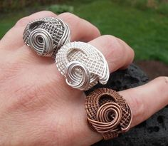 Unique wire wrapped woven ring by SeaglassPetraDesigns on Etsy, $40.00