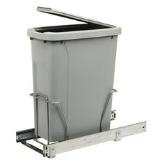 17 in. H x 8 in. W x 20 in D Steel In-Cabinet 20 Qt. Single Pull-Out Trash Can in Platinum, Silver Metallic