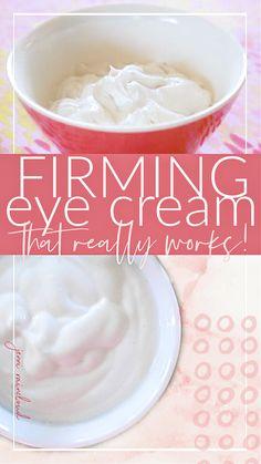 DIY Firming Eye Cream - Jenni Raincloud Skin Firming Lotion, Firming Eye Cream, Homemade Beauty Recipes, Homemade Beauty Products, Natural Products, Homemade Eye Cream, Lotion Recipe, Coconut Oil For Acne, Diy Lotion