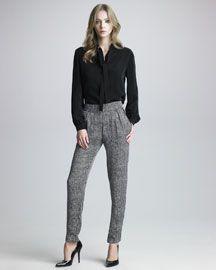 -3R14 Kelly Wearstler Crown Drawstring Blouse & Spike Dot-Print Pants