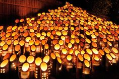 「竹灯籠」 A bamboo garden lantern. Fujinomiya-shi, Shizuoka, Japan