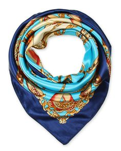 "corciova 35"" 100% Polyester Silk Feeling Square Summer Scarf Smooth Imported Aqua with Navy $9.99 Free Shipping"