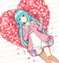 Hatsune Miku Creds by 伊維 With love straight from fiction 💙 Kawaii Cute, Kawaii Girl, Moe Anime, Anime Art, Anime Blue Hair, Vocaloid Kaito, Kaai Yuki, Miku Chan, Mikuo