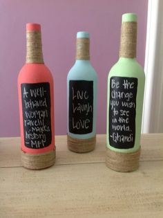 Tiny chalk boards for your kitchen - diy wine bottles - interior decoration - recycle