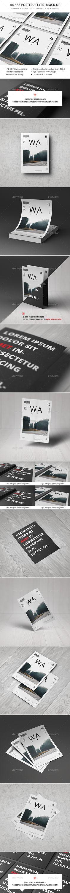 A4 / A5 / Poster / Flyer Mockup #design #presentation Download: http://graphicriver.net/item/a4-a5-poster-flyer-mockup/10989492?ref=ksioks