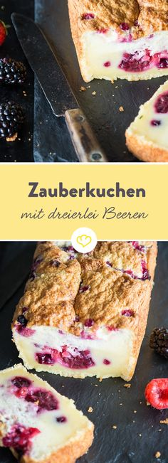 Wenn Hogwarts backt: Zauberkuchen mit dreierlei Beeren You do not need a wand, just a few simple ingredients, a hand mixer and an oven to cook this wonderful cake Berry Smoothie Recipe, Easy Smoothie Recipes, Homemade Frappuccino, Grilled Fruit, Different Cakes, No Bake Desserts, Yummy Drinks, Cake Cookies, No Bake Cake