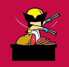 'Part-time JOB Meat Shop' Funny Parody Super Hero Cutting Meat Vinyl Sticker