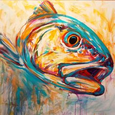 Expressionist Redfish art, acrylic on canvas, Original Red Drum Painting by Contemporary Fly fishing Fine artist Savlen.