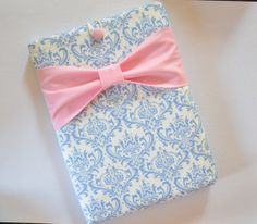 "Macbook Pro 13"" Sleeve Computer Case Cover Light Blue and White Damask with Pink Bow"